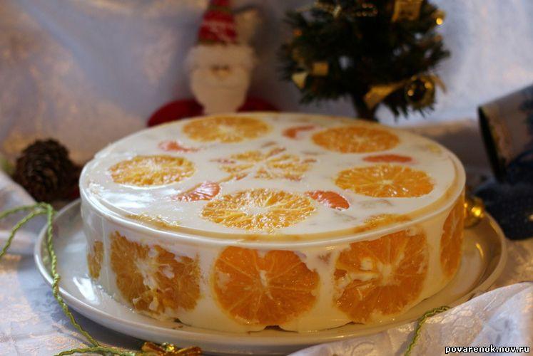 Торт с фруктами бисквитом и сметаной с фото