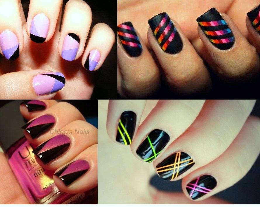 Яркий дизайн для коротких ногтей