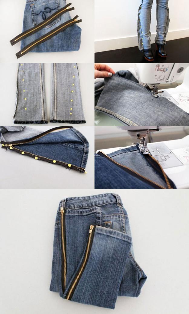 Зауженные к низу джинсы на молниях