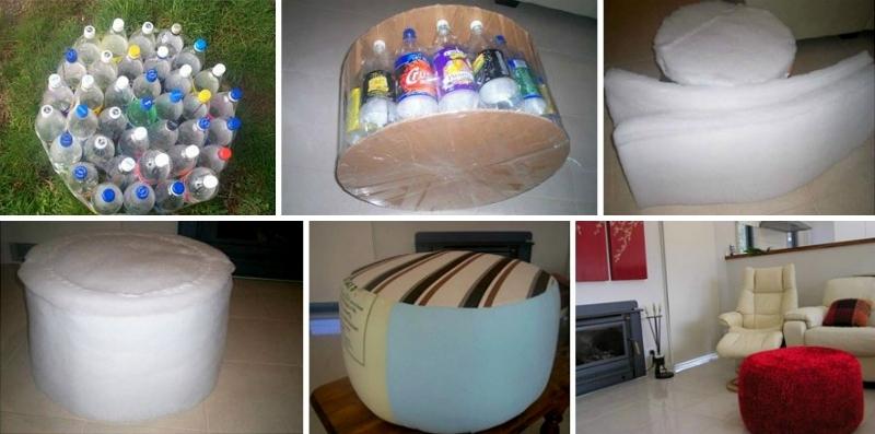 Как сделать пуфик из пластиковых бутылок мастер класс