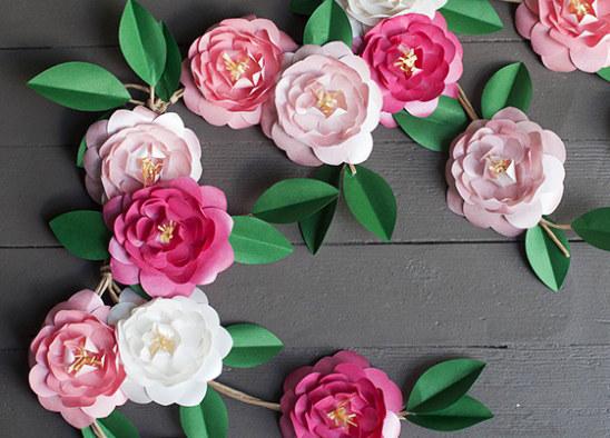 Бумажные цветы гирлянды своими руками