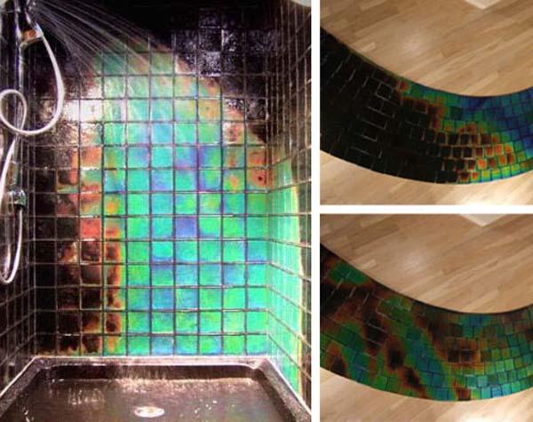 Эта плитка меняет цвет от температуры воды