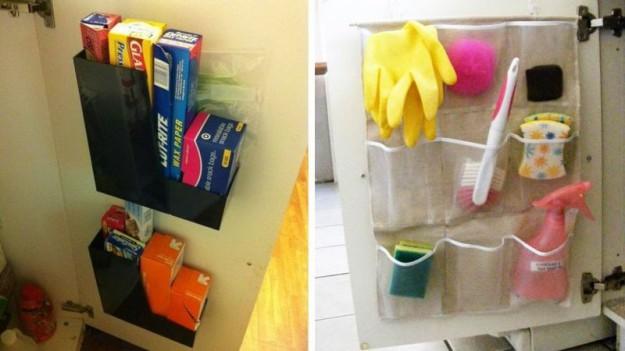 В шкафчиках размещайте еще и органайзеры