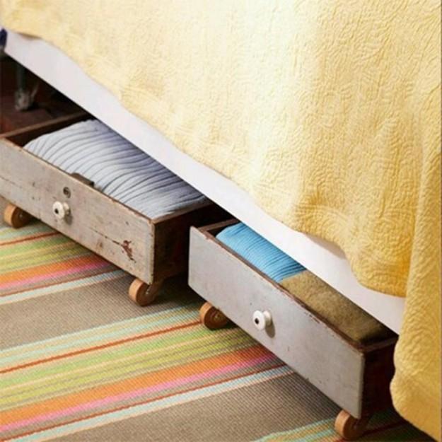Ящики на колесиках для хранения вещей под кроватью